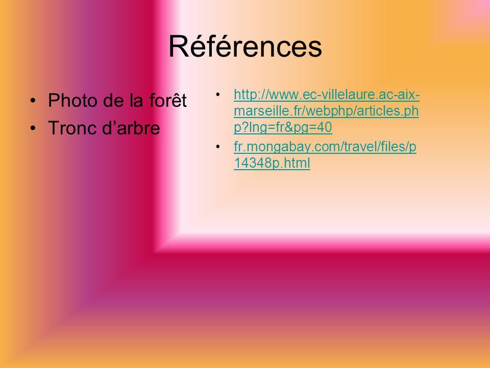 Références Photo de la forêt Tronc darbre http://www.ec-villelaure.ac-aix- marseille.fr/webphp/articles.ph p lng=fr&pg=40http://www.ec-villelaure.ac-aix- marseille.fr/webphp/articles.ph p lng=fr&pg=40 fr.mongabay.com/travel/files/p 14348p.htmlfr.mongabay.com/travel/files/p 14348p.html