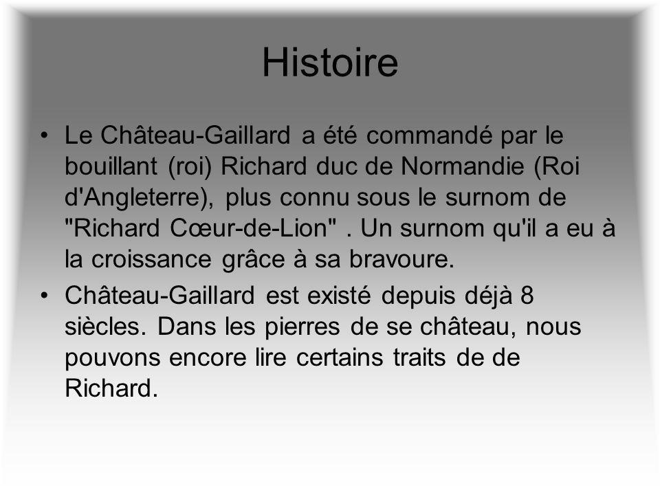 Histoire Le Château-Gaillard a été commandé par le bouillant (roi) Richard duc de Normandie (Roi d'Angleterre), plus connu sous le surnom de