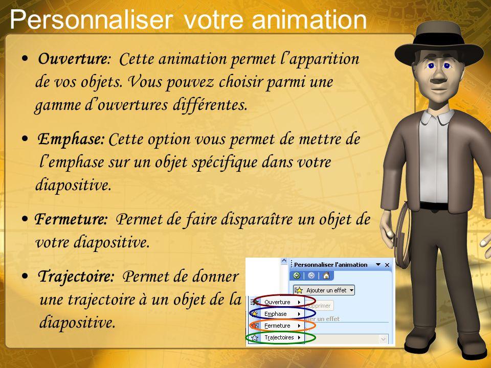 Personnaliser votre animation Vous pouvez ajouter de lanimation à tous les objets de votre diapositive. Pour ajouter une animation, faîtes diaporama +