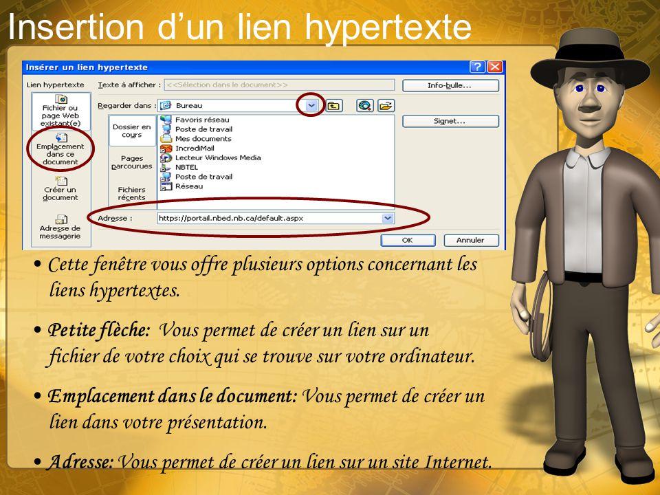 Insertion dun lien hypertexte Un lien hypertexte a comme fonction de créer un lien dans votre présentation, sur une autre présentation, dans un fichie