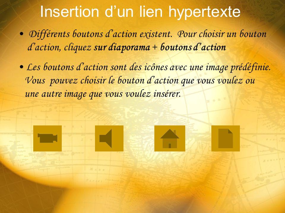 Insertion dun lien hypertexte Vous pouvez créer un lien hypertexte sur nimporte quel objet. Un mot, une image, un WordArt, etc. Assurez-vous que votre