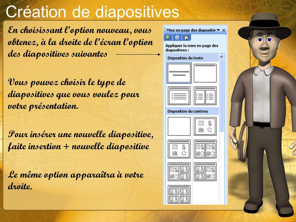 Espace de travail La diapositive se retrouve au centre de la page 3 boutons importants sur lespace de travail. 1- permet de voir chacune des diapositi