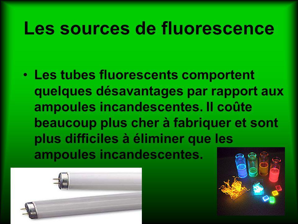 Les sources de fluorescence Les tubes fluorescents comportent quelques désavantages par rapport aux ampoules incandescentes. Il coûte beaucoup plus ch