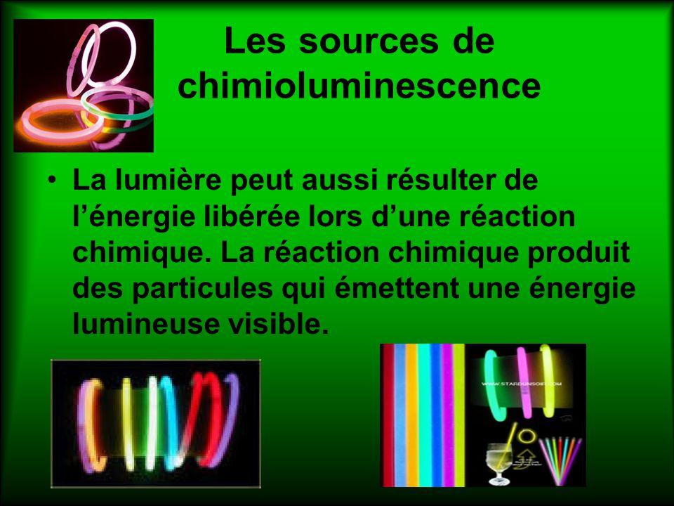 Les sources de chimioluminescence La lumière peut aussi résulter de lénergie libérée lors dune réaction chimique. La réaction chimique produit des par