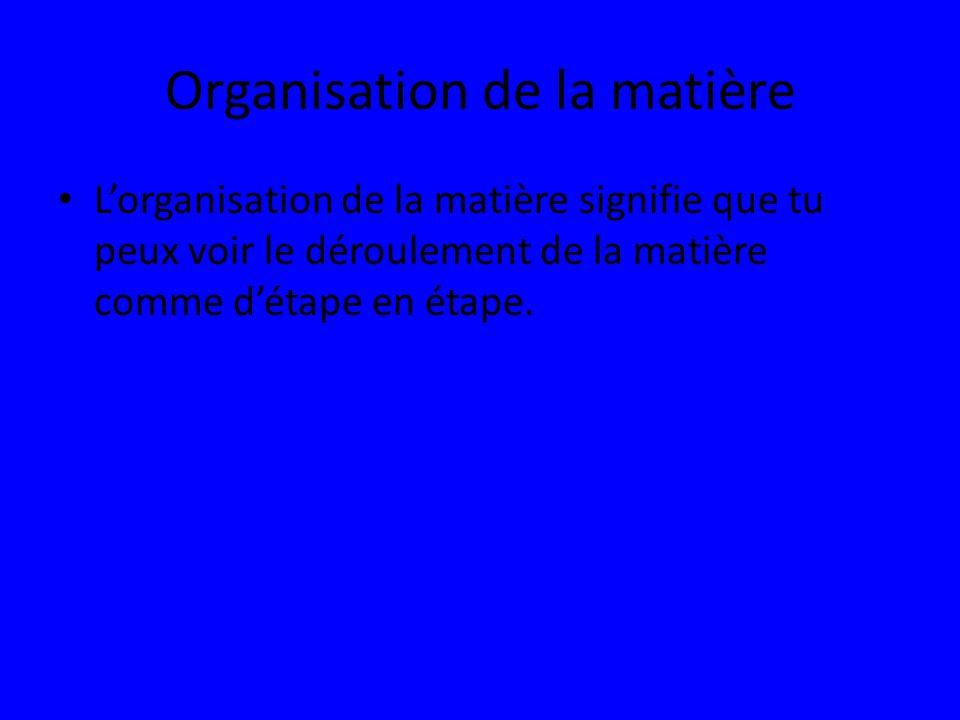 Organisation de la matière Lorganisation de la matière signifie que tu peux voir le déroulement de la matière comme détape en étape.