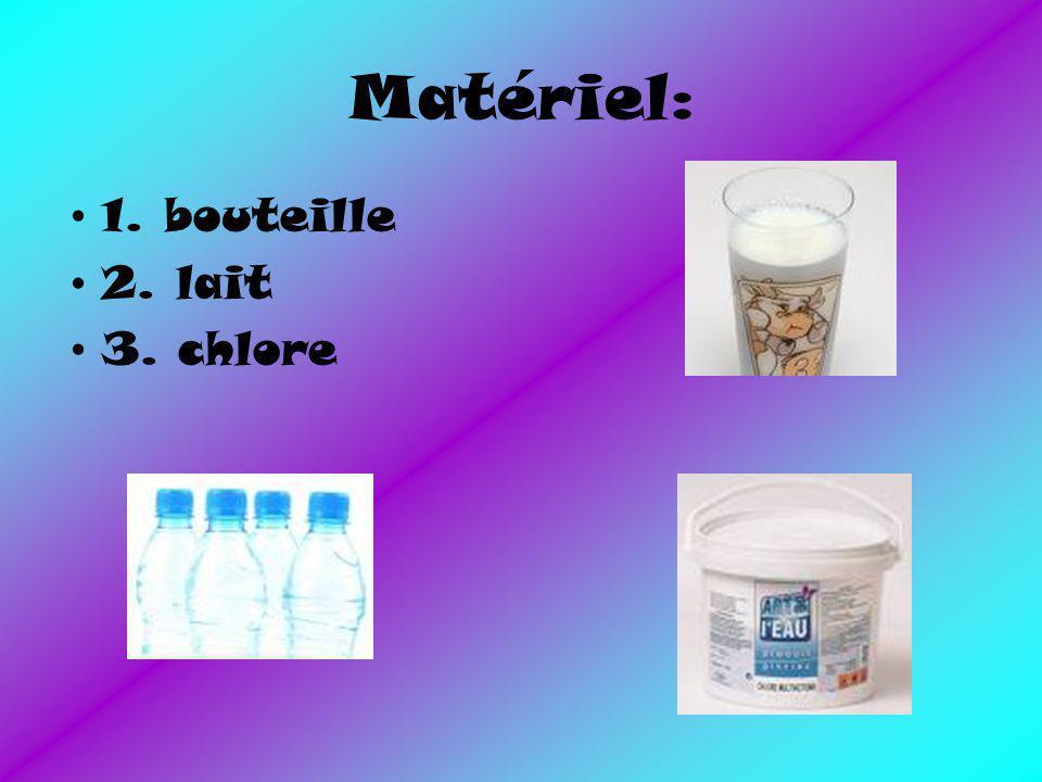 Matériel: 1. bouteille 2. lait 3. chlore