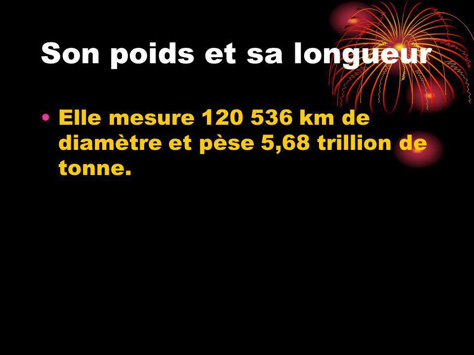 Son poids et sa longueur Elle mesure 120 536 km de diamètre et pèse 5,68 trillion de tonne.