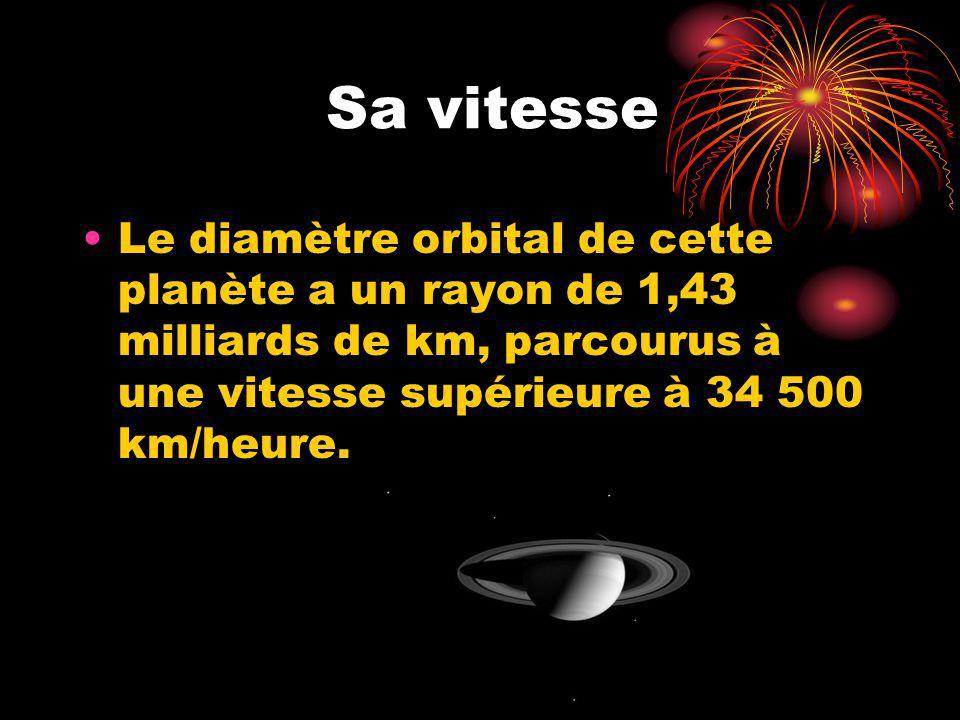 Sa vitesse Le diamètre orbital de cette planète a un rayon de 1,43 milliards de km, parcourus à une vitesse supérieure à 34 500 km/heure.