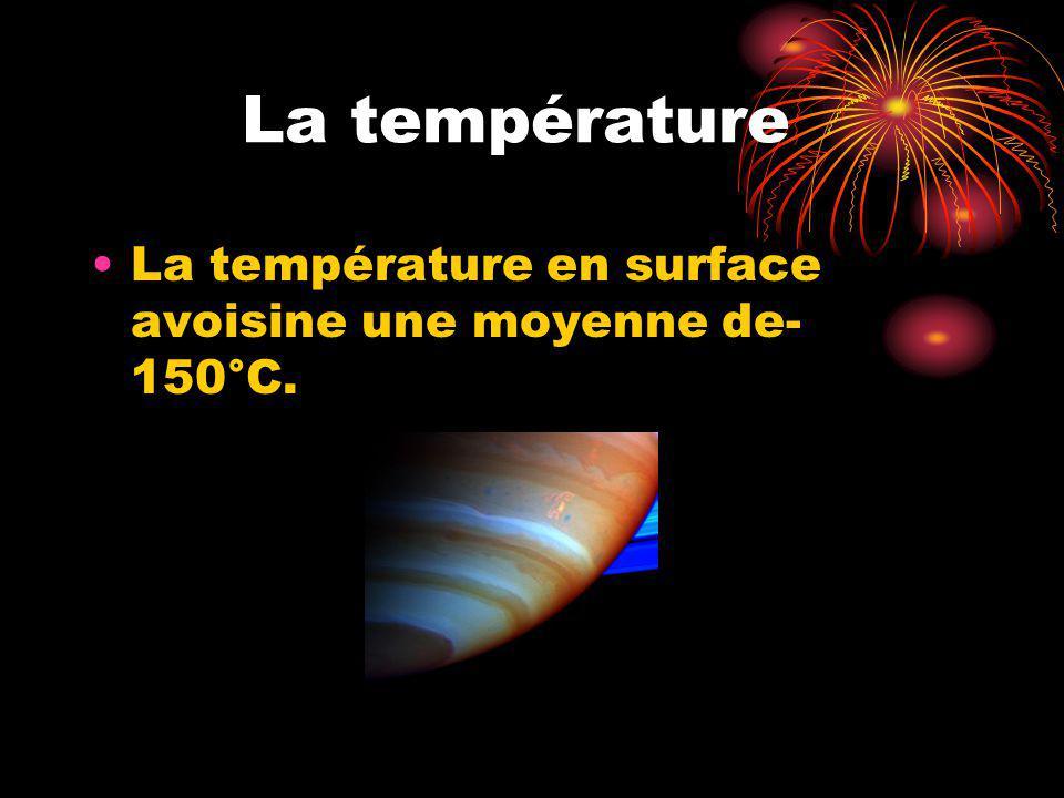La température La température en surface avoisine une moyenne de- 150°C.