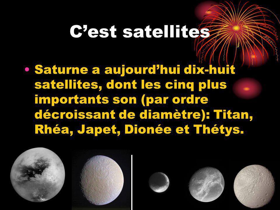 Cest satellites Saturne a aujourdhui dix-huit satellites, dont les cinq plus importants son (par ordre décroissant de diamètre): Titan, Rhéa, Japet, Dionée et Thétys.