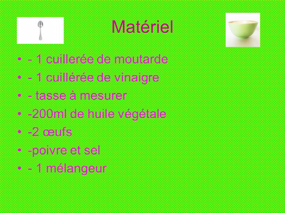 Matériel - 1 cuillerée de moutarde - 1 cuillérée de vinaigre - tasse à mesurer -200ml de huile végétale -2 œufs -poivre et sel - 1 mélangeur