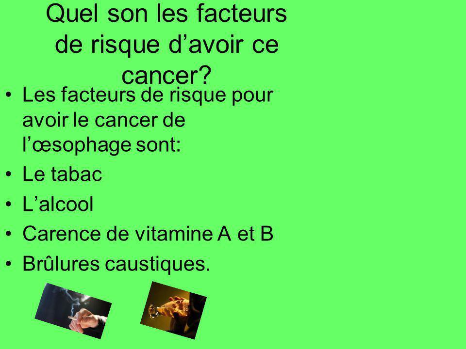 Quel son les facteurs de risque davoir ce cancer? Les facteurs de risque pour avoir le cancer de lœsophage sont: Le tabac Lalcool Carence de vitamine