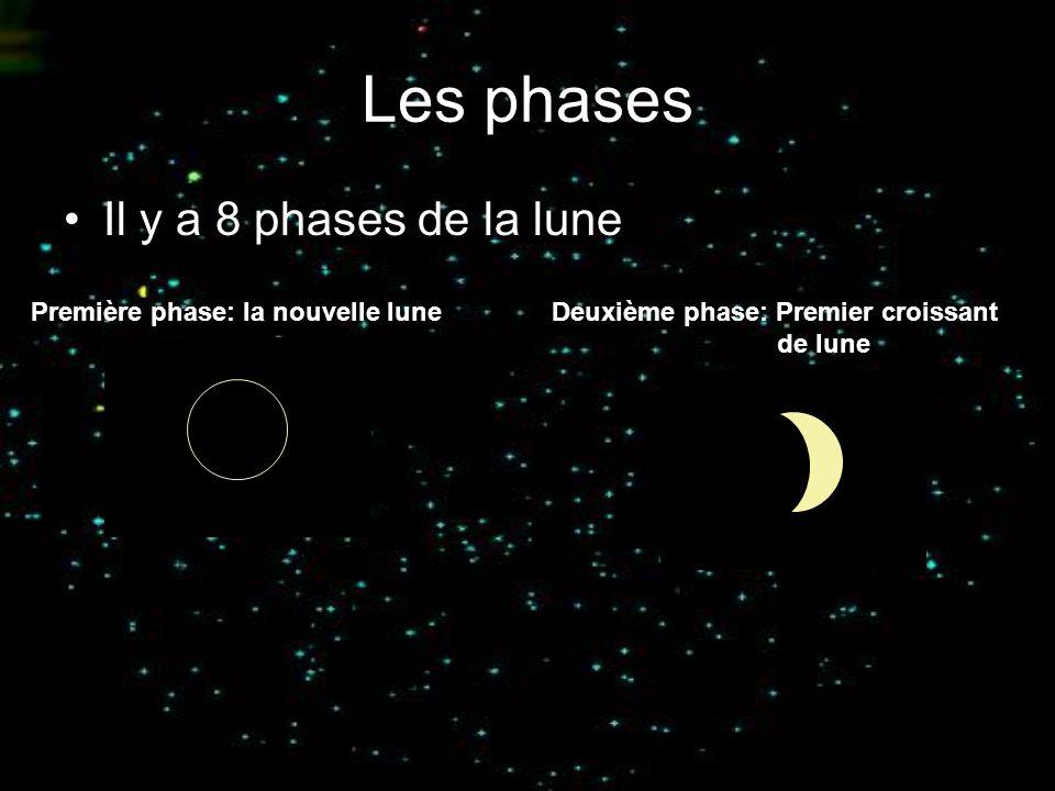 Les phases Il y a 8 phases de la lune Première phase: la nouvelle luneDeuxième phase: Premier croissant de lune