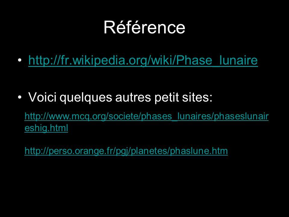 Référence http://fr.wikipedia.org/wiki/Phase_lunaire Voici quelques autres petit sites: http://www.mcq.org/societe/phases_lunaires/phaseslunair eshig.