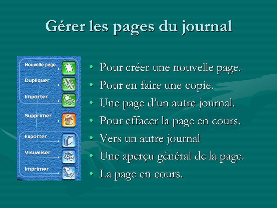 Gérer les pages du journal Pour créer une nouvelle page.Pour créer une nouvelle page.
