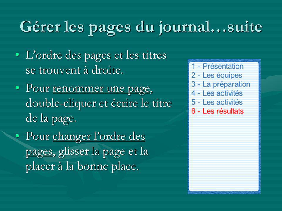 Gérer les pages du journal…suite Lordre des pages et les titres se trouvent à droite.Lordre des pages et les titres se trouvent à droite.