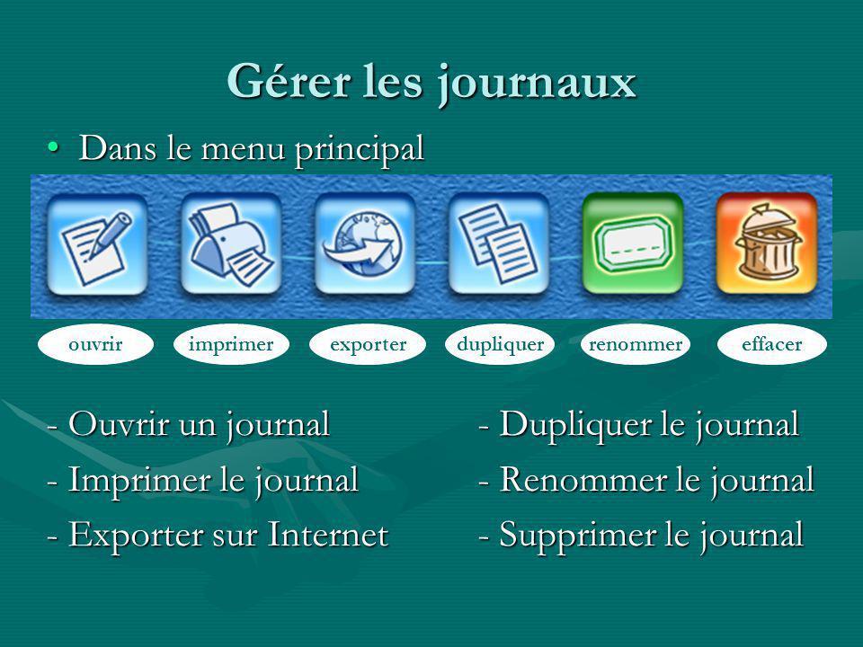 Gérer les journaux Dans le menu principalDans le menu principal - Ouvrir un journal- Dupliquer le journal - Imprimer le journal - Renommer le journal - Exporter sur Internet- Supprimer le journal ouvririmprimerexporterdupliquerrenommereffacer