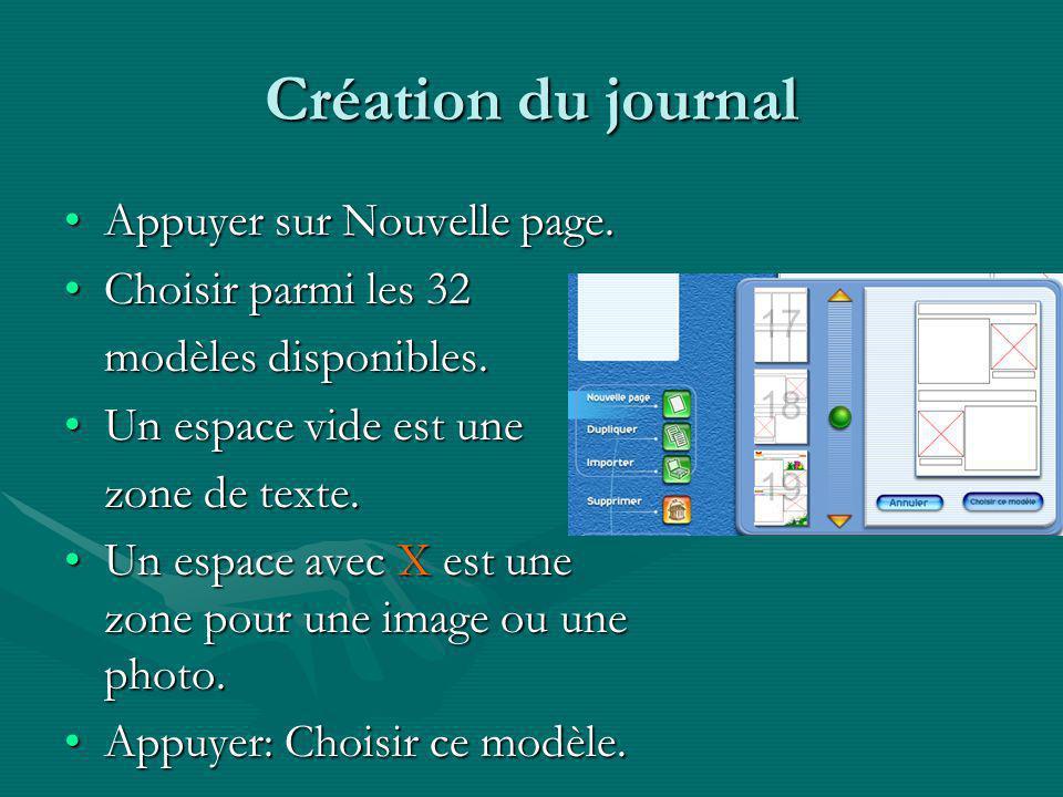 Création du journal Appuyer sur Nouvelle page.Appuyer sur Nouvelle page.