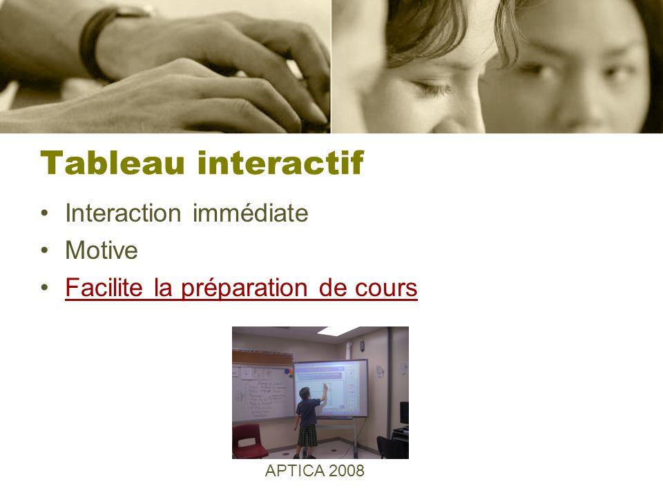 Tableau interactif Interaction immédiate Motive Facilite la préparation de cours APTICA 2008