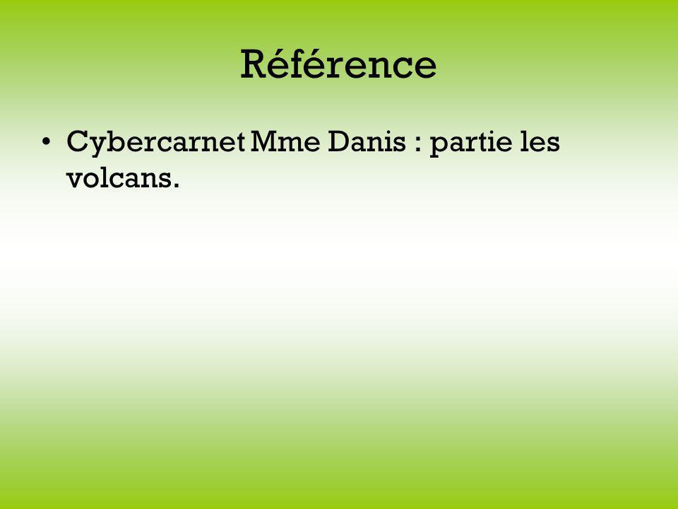 Référence Cybercarnet Mme Danis : partie les volcans.