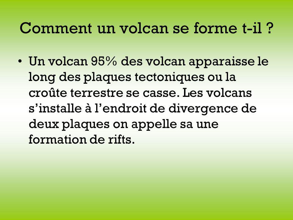 Comment un volcan se forme t-il ? Un volcan 95% des volcan apparaisse le long des plaques tectoniques ou la croûte terrestre se casse. Les volcans sin