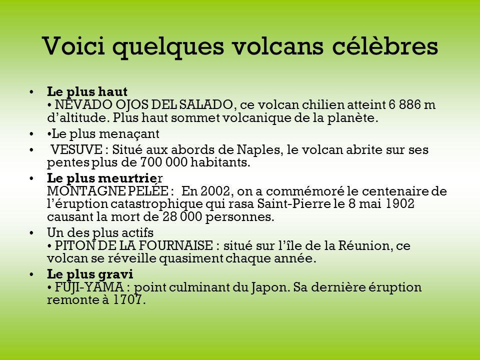 Voici quelques volcans célèbres Le plus haut NEVADO OJOS DEL SALADO, ce volcan chilien atteint 6 886 m daltitude.