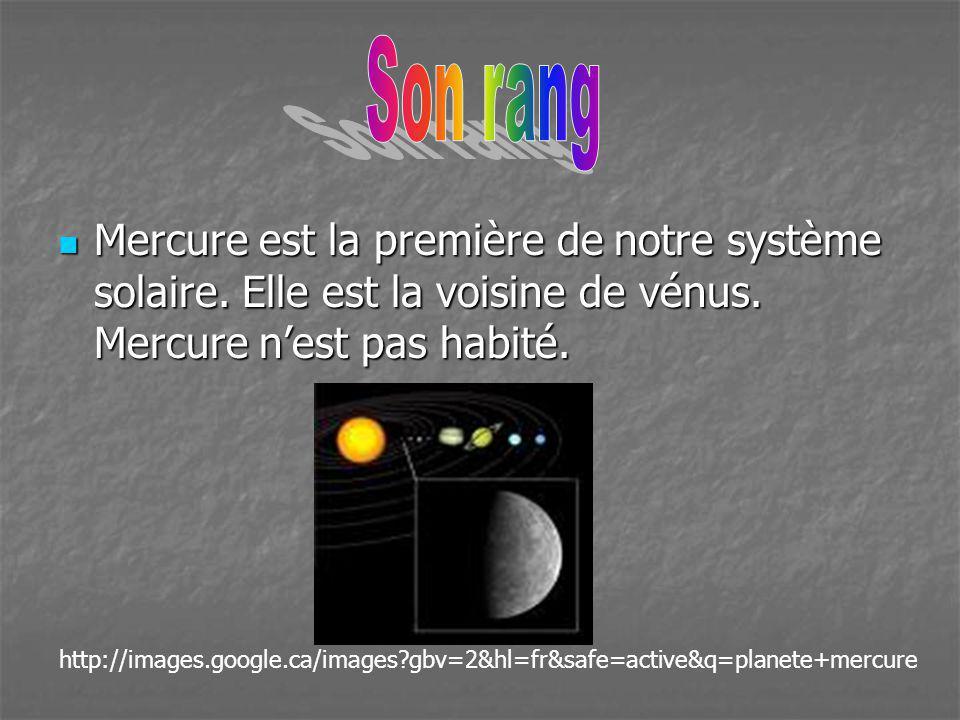 Mercure est la première de notre système solaire. Elle est la voisine de vénus. Mercure nest pas habité. Mercure est la première de notre système sola