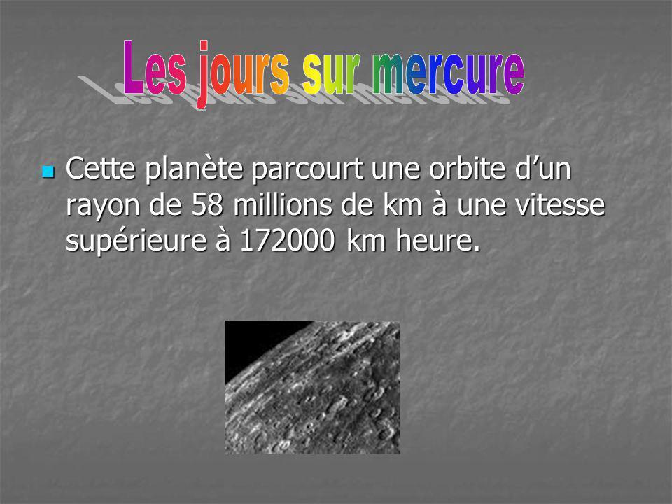 Cette planète parcourt une orbite dun rayon de 58 millions de km à une vitesse supérieure à 172000 km heure. Cette planète parcourt une orbite dun ray