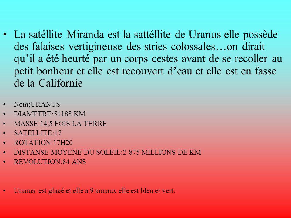 La satéllite Miranda est la sattéllite de Uranus elle possède des falaises vertigineuse des stries colossales…on dirait quil a été heurté par un corps cestes avant de se recoller au petit bonheur et elle est recouvert deau et elle est en fasse de la Californie Nom;URANUS DIAMÈTRE:51188 KM MASSE 14,5 FOIS LA TERRE SATELLITE:17 ROTATION:17H20 DISTANSE MOYENE DU SOLEIL:2 875 MILLIONS DE KM RÉVOLUTION:84 ANS Uranus est glacé et elle a 9 annaux elle est bleu et vert.