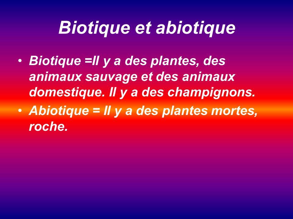 Biotique et abiotique Biotique =Il y a des plantes, des animaux sauvage et des animaux domestique.