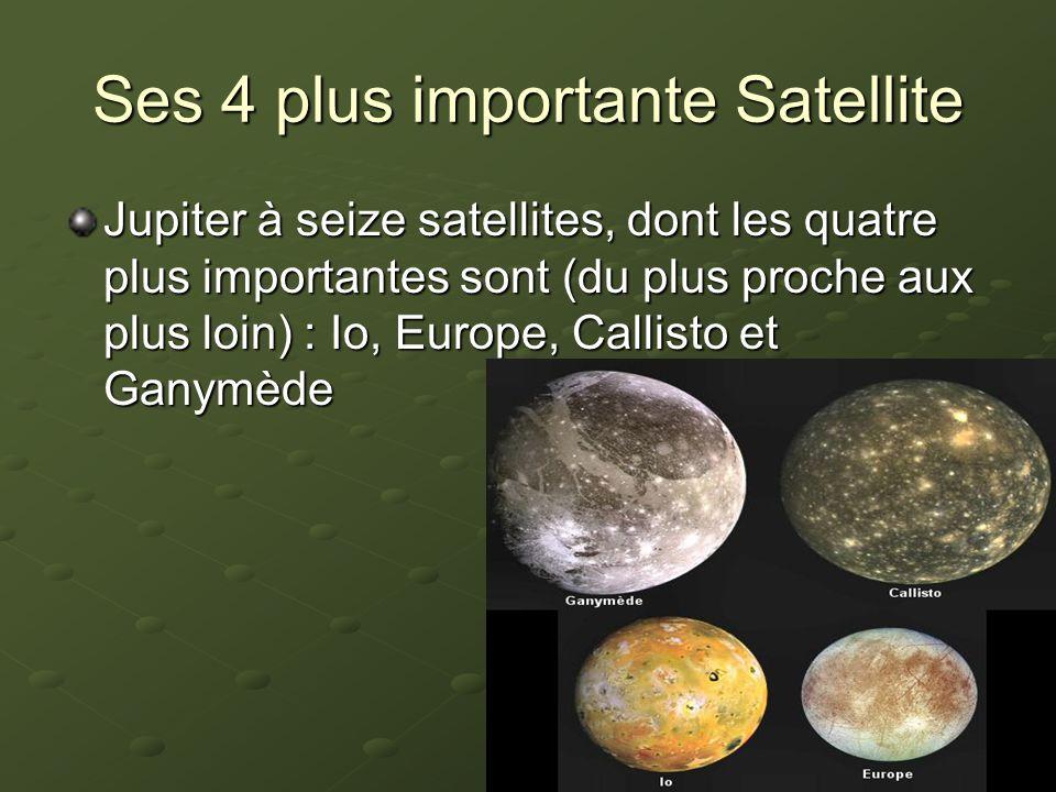 Ses 4 plus importante Satellite Jupiter à seize satellites, dont les quatre plus importantes sont (du plus proche aux plus loin) : Io, Europe, Callisto et Ganymède