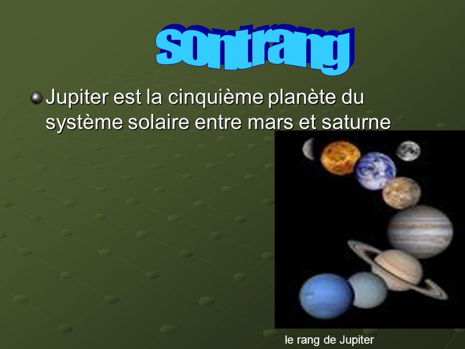 Jupiter est la cinquième planète du système solaire entre mars et saturne le rang de Jupiter