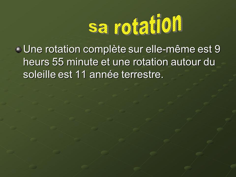 Une rotation complète sur elle-même est 9 heurs 55 minute et une rotation autour du soleille est 11 année terrestre.