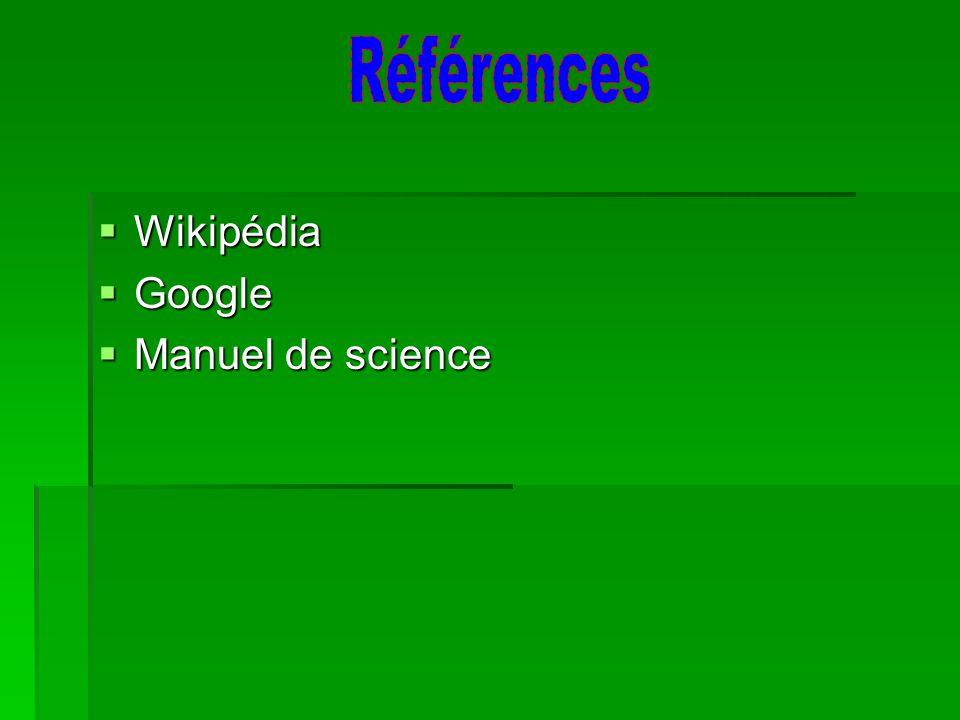 Wikipédia Wikipédia Google Google Manuel de science Manuel de science