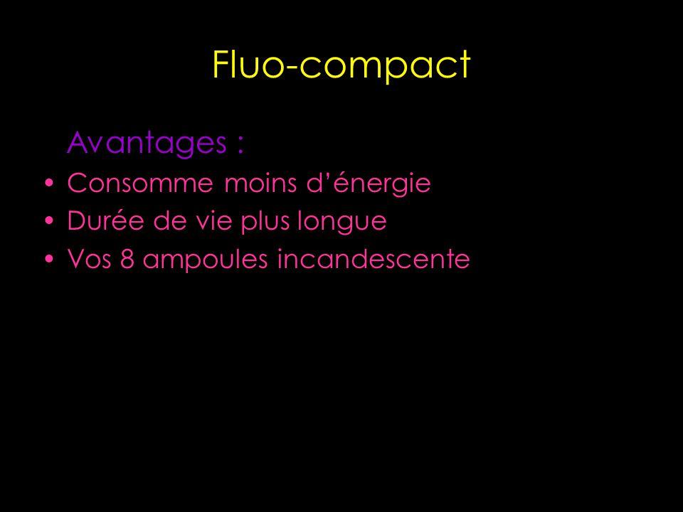 Fluo-compact Avantages : Consomme moins dénergie Durée de vie plus longue Vos 8 ampoules incandescente
