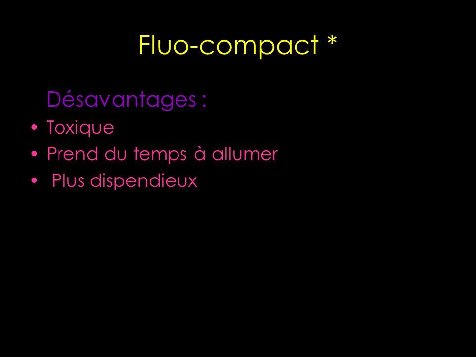 Fluo-compact * Désavantages : Toxique Prend du temps à allumer Plus dispendieux