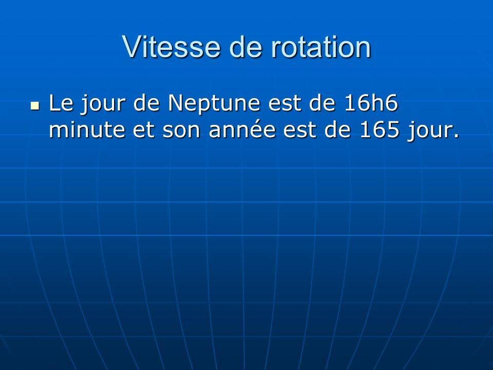 Vitesse de rotation Le jour de Neptune est de 16h6 minute et son année est de 165 jour. Le jour de Neptune est de 16h6 minute et son année est de 165