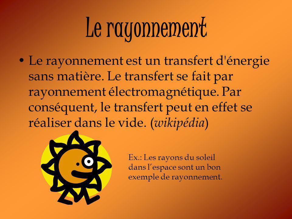 Le rayonnement Le rayonnement est un transfert d énergie sans matière.