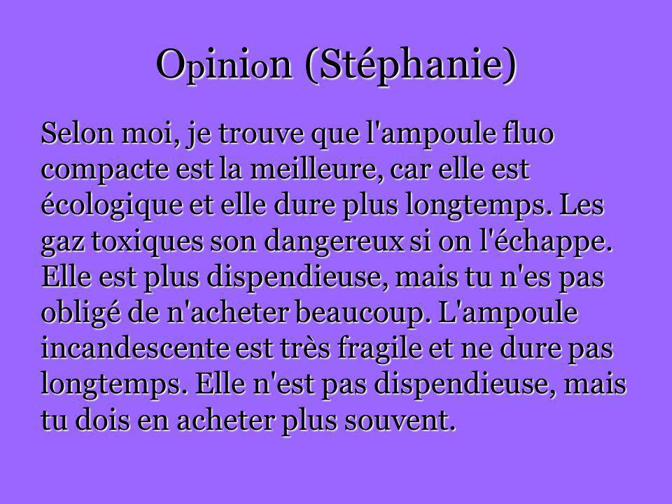 O p i n i o n (Stéphanie) Selon moi, je trouve que l'ampoule fluo compacte est la meilleure, car elle est écologique et elle dure plus longtemps. Les