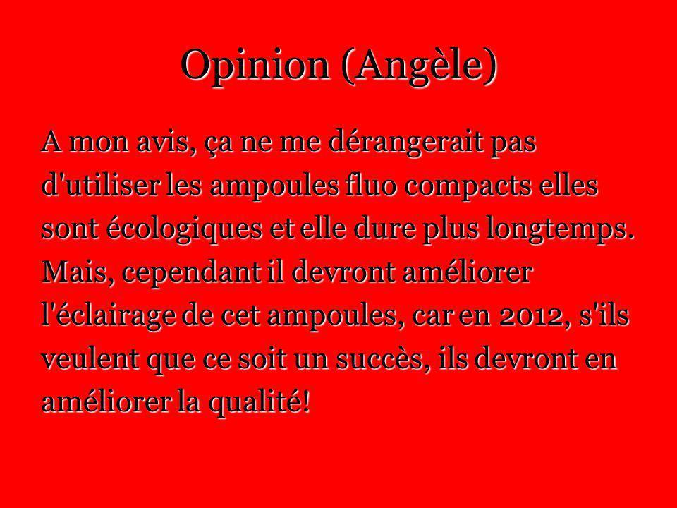 Opinion (Angèle) A mon avis, ça ne me dérangerait pas d utiliser les ampoules fluo compacts elles sont écologiques et elle dure plus longtemps.