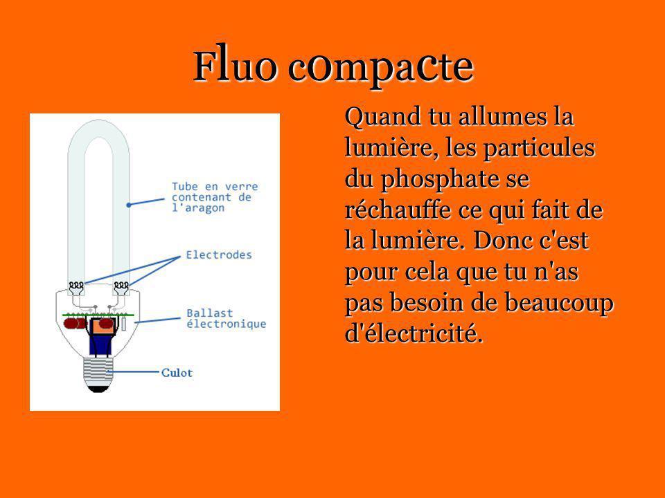 Fluo compacteFluo compacteFluo compacteFluo compacte Quand tu allumes la lumière, les particules du phosphate se réchauffe ce qui fait de la lumière.