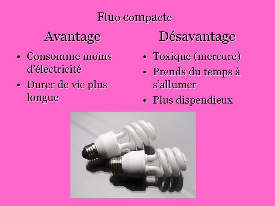 Le coût des ampoules IncandescenteIncandescente 4 ampoules = 1$4 ampoules = 1$ Fluo compacteFluo compacte 1 ampoule = 1$1 ampoule = 1$ Durer de vie :Durer de vie : 8 ampoules incandescente = 1 ampoule fluo compacte8 ampoules incandescente = 1 ampoule fluo compacte Incandescente 2$ et fluo compacte 1$Incandescente 2$ et fluo compacte 1$
