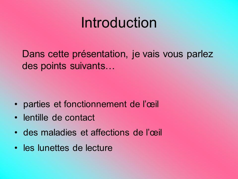 Introduction parties et fonctionnement de lœil lentille de contact des maladies et affections de lœil les lunettes de lecture Dans cette présentation, je vais vous parlez des points suivants…