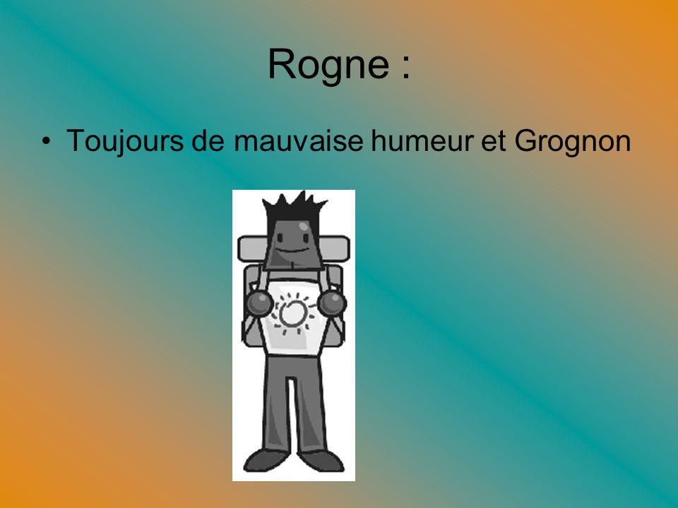 Rogne : Toujours de mauvaise humeur et Grognon