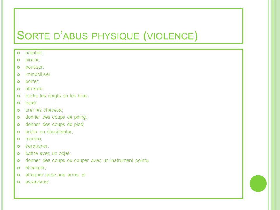 S ORTE D ABUS PHYSIQUE ( VIOLENCE ) cracher; pincer; pousser; immobiliser; porter; attraper; tordre les doigts ou les bras; taper; tirer les cheveux;