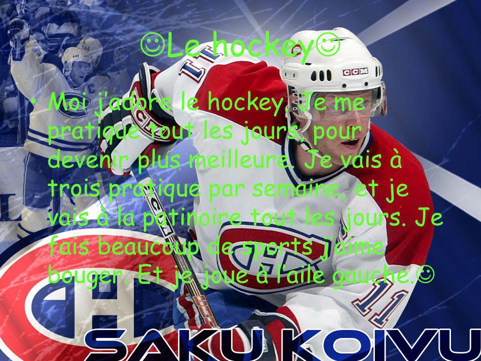 Le hockey Moi j adore le hockey.Je me pratique tout les jours, pour devenir plus meilleure.
