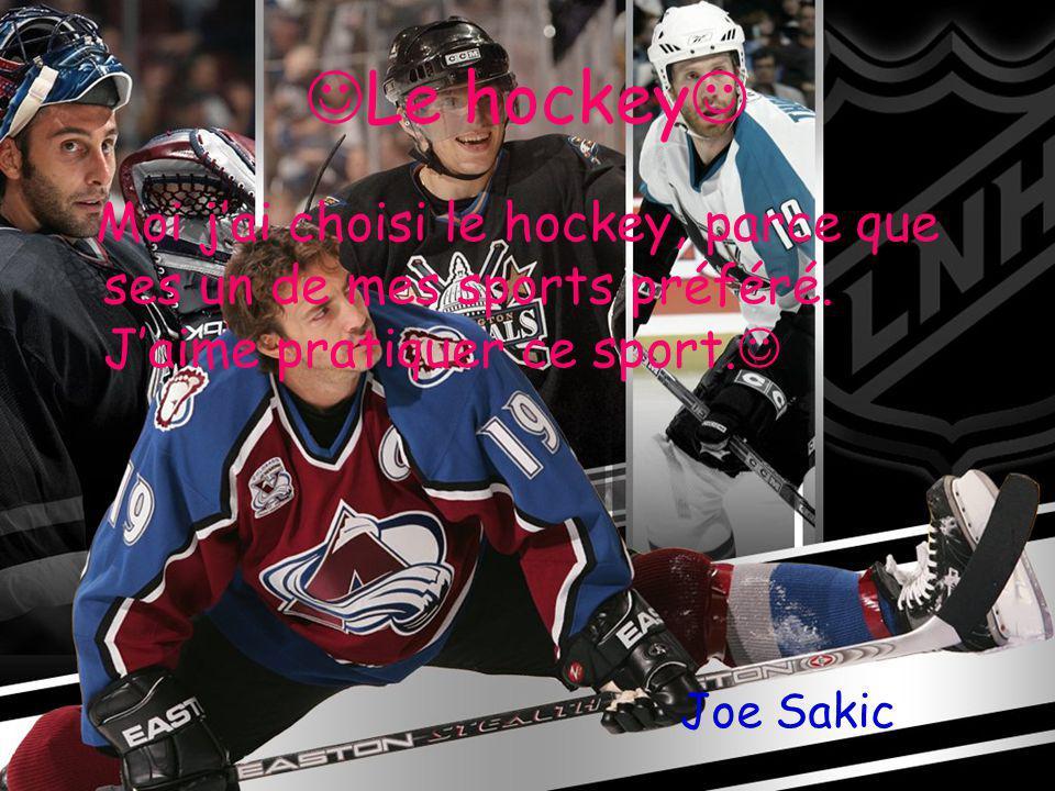 Le hockey Moi jai choisi le hockey, parce que ses un de mes sports préféré.