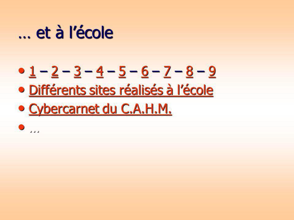 … et à lécole 1 – 2 – 3 – 4 – 5 – 6 – 7 – 8 – 9 1 – 2 – 3 – 4 – 5 – 6 – 7 – 8 – 9 123456789 123456789 Différents sites réalisés à lécole Différents si