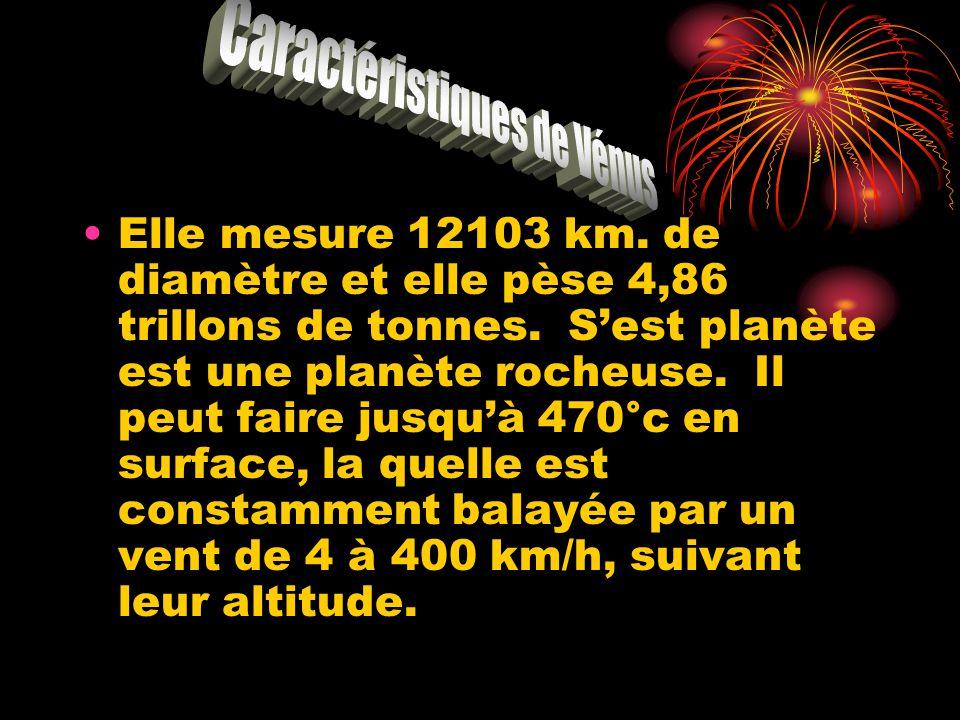 Elle mesure 12103 km. de diamètre et elle pèse 4,86 trillons de tonnes. Sest planète est une planète rocheuse. Il peut faire jusquà 470°c en surface,