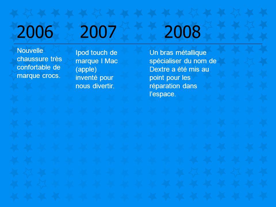 2006 2007 2008 Ipod touch de marque I Mac (apple) inventé pour nous divertir. Nouvelle chaussure très confortable de marque crocs. Un bras métallique
